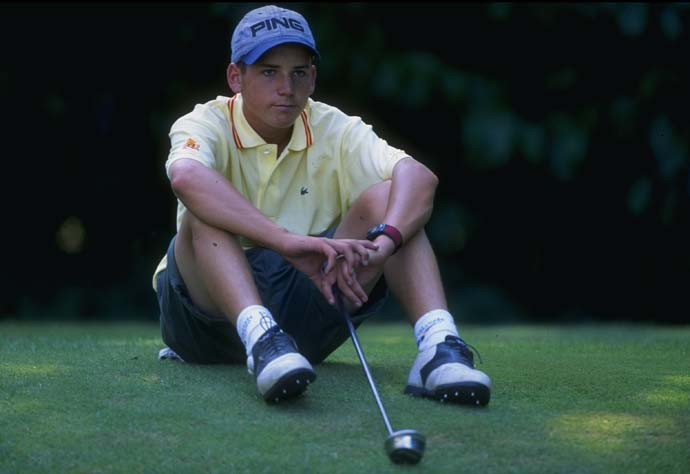 A 15-year-old Sergio Garcia takes a break at the 1995 European Young Masters.