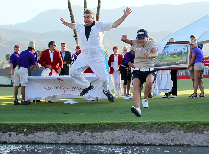 Sun Young Yoo's caddie, John Limanti, did a flying squirrel after her win last year.