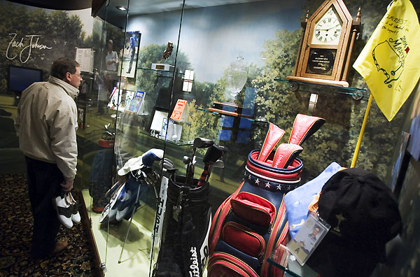 Zach Johnson memorabilia is on display at Elmcrest Country Club in Cedar Rapids, Iowa.