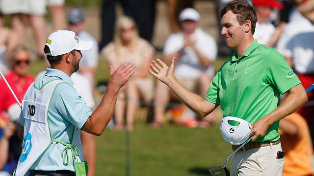 Todd celebrates his first PGA Tour win at the 2014 HP Byron Nelson Championship.