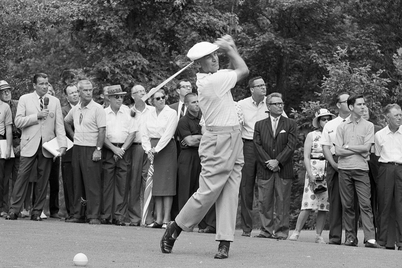 """Ben Hogan on the tee during the 1965 """"Shell's Wonderful World of Golf Match"""" against Sam Snead. Hogan hit every fairway and every green."""