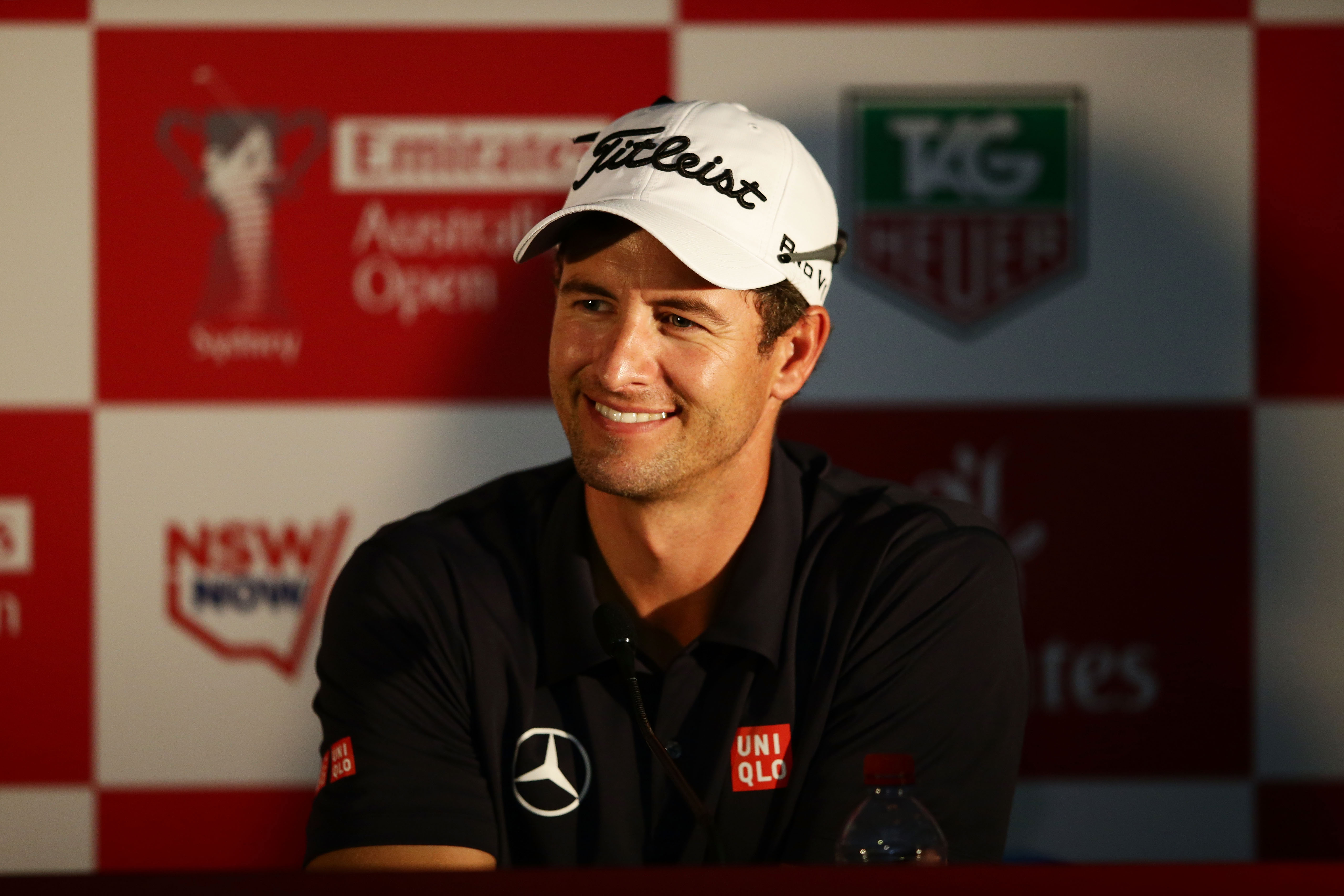 Adam Scott speaks to the media after a round at the 2014 Australian Open.