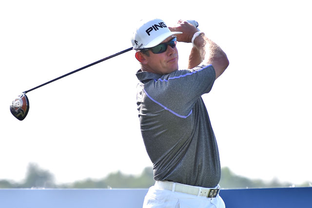 Lee Westwood of England plays a shot during round four of the Thailand Golf Championship at Amata Spring Country Club.