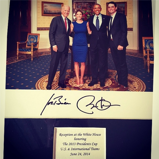 My girl @jillianfstacey and I with POTUS and the vice prez! Amazing #USA #captboomboom