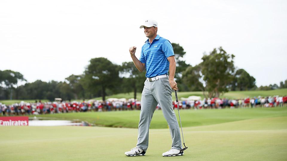 Jordan Spieth celebrates after winning the 2014 Australian Open at the Australian Golf Club.