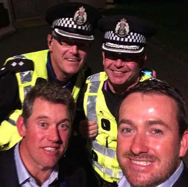 "Graeme McDowell and Lee Westwood cozied up to some cop friends after celebrating their Ryder Cup win. Graeme: ""Not saying @WestwoodLee and myself got in any trouble last night..... #sorryofficer"""
