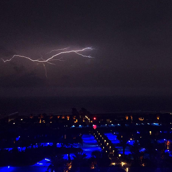 """It's a good thing Ian Poulter is so snap happy, or else we would have missed this shot this year. Ian: """"Just caught the Lightning on camera at 5.40am. Can't see much golf being played this morning."""""""
