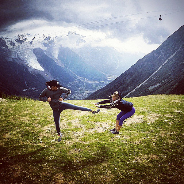 "Michelle took a break and rediscovered her inner Ninja at the Evian Championship. Michelle: ""Ninja Wiezy #MontBlanc #Chamonix @jamiekuhn"""
