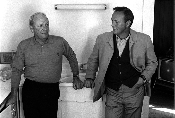 A portrait of Arnold Palmer with his father Deacon in 1967.