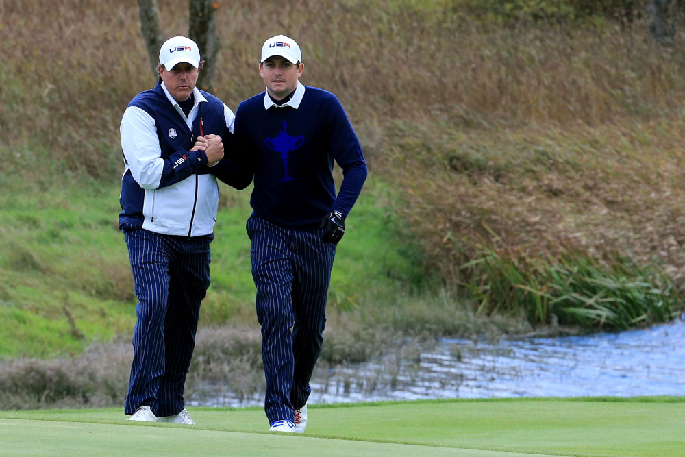 Mickelson and Bradley were 1-1 in Friday's matches before being benched on Saturday by Captain Tom Watson at the 2014 Ryder Cup.