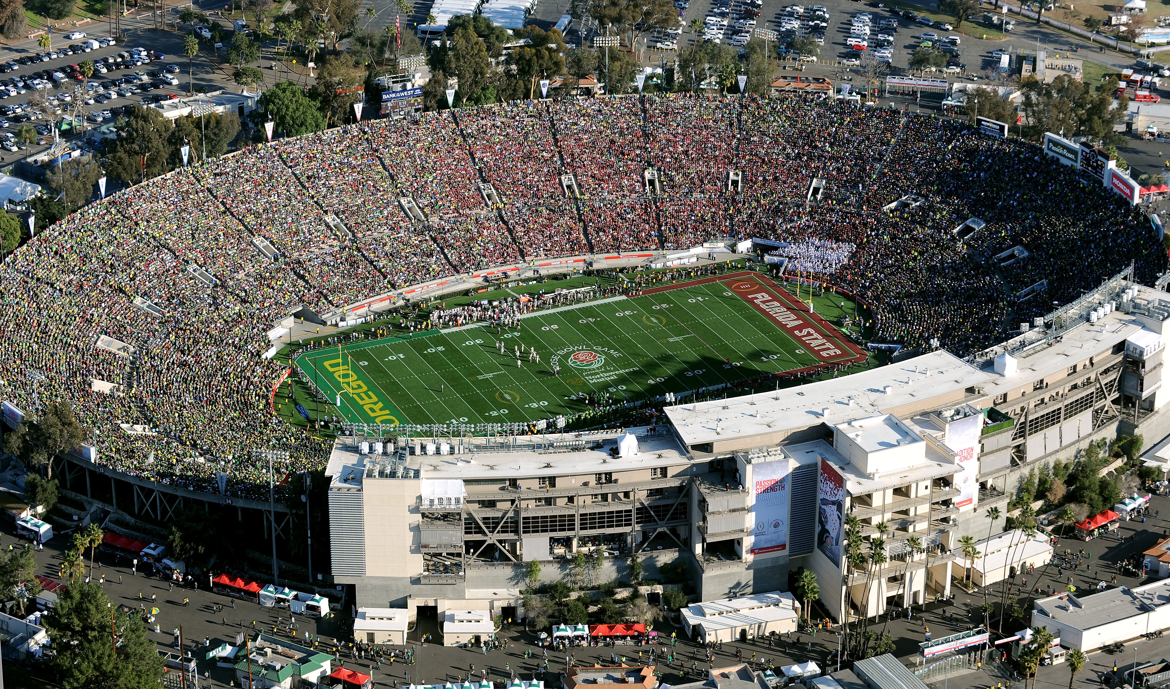 An aerial view of the Rose Bowl Stadium at the 2015 Rose Bowl.