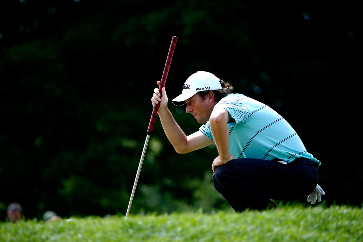 Tim Clark lines up a putt during the final round of the RBC Canadian Open in July.