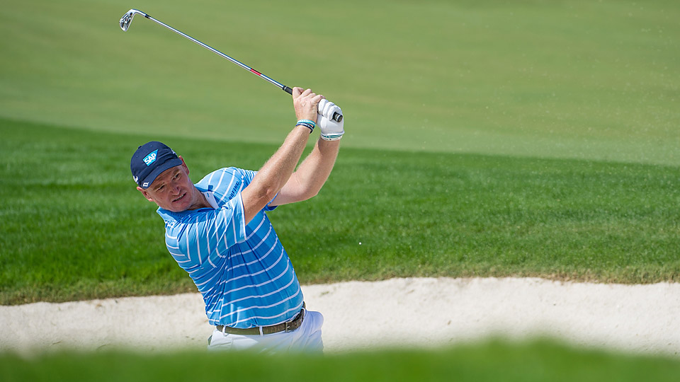 Ernie Els (pictured here at the DP World Tour Championship in November) is one back after the first round.