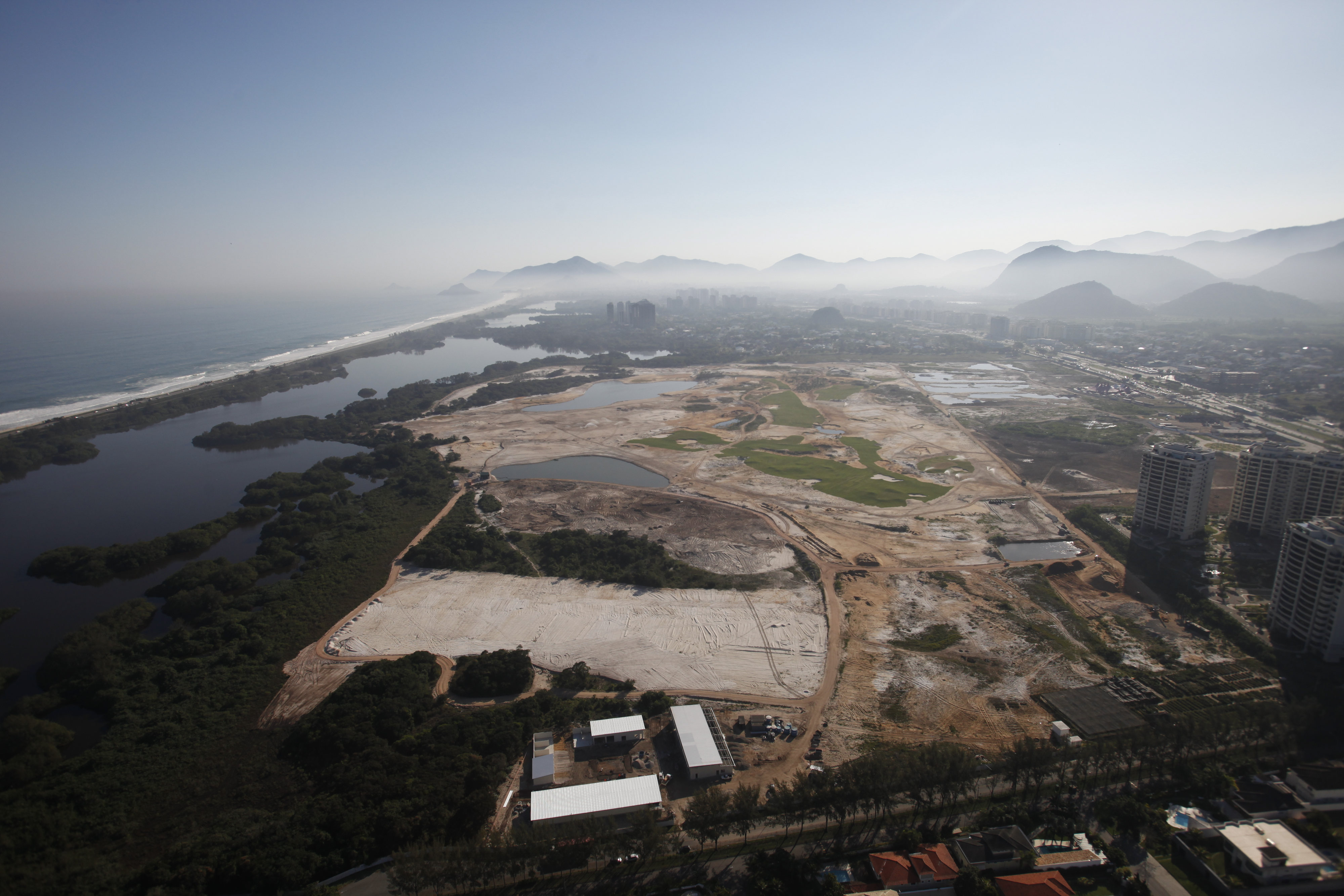 August 2014: An aerial view of Olympic golf course under construction in Rio de Janeiro.