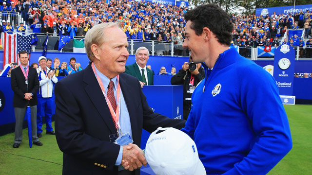 Rory McIlroy shakes hands with Jack Nicklaus on the 1st tee at Gleneagles during the 2014 Ryder Cup.