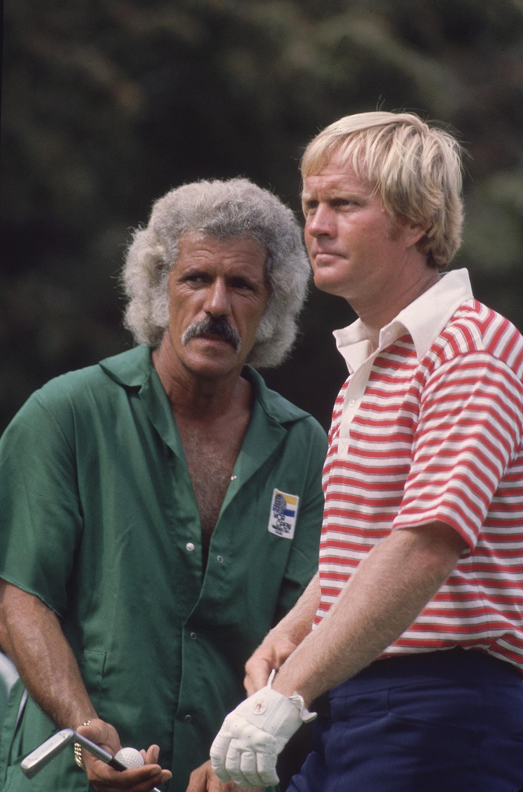 Jack Nicklaus with caddie Angelo Argea at Pinehurst in 1974.