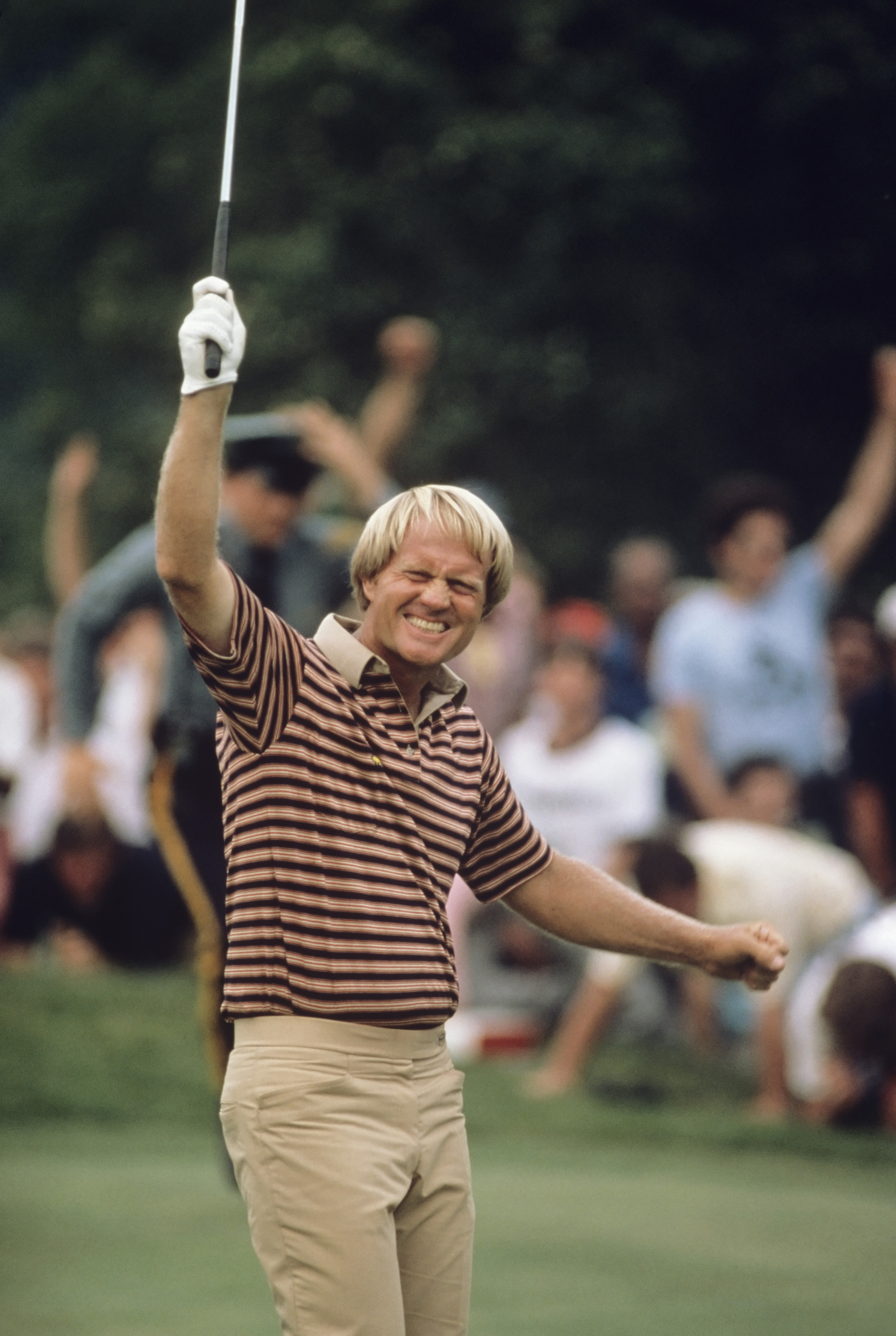 Jack Nicklaus celebrates after birdieing the 18th hole and winning the 1980 U.S. Open at Baltusrol.