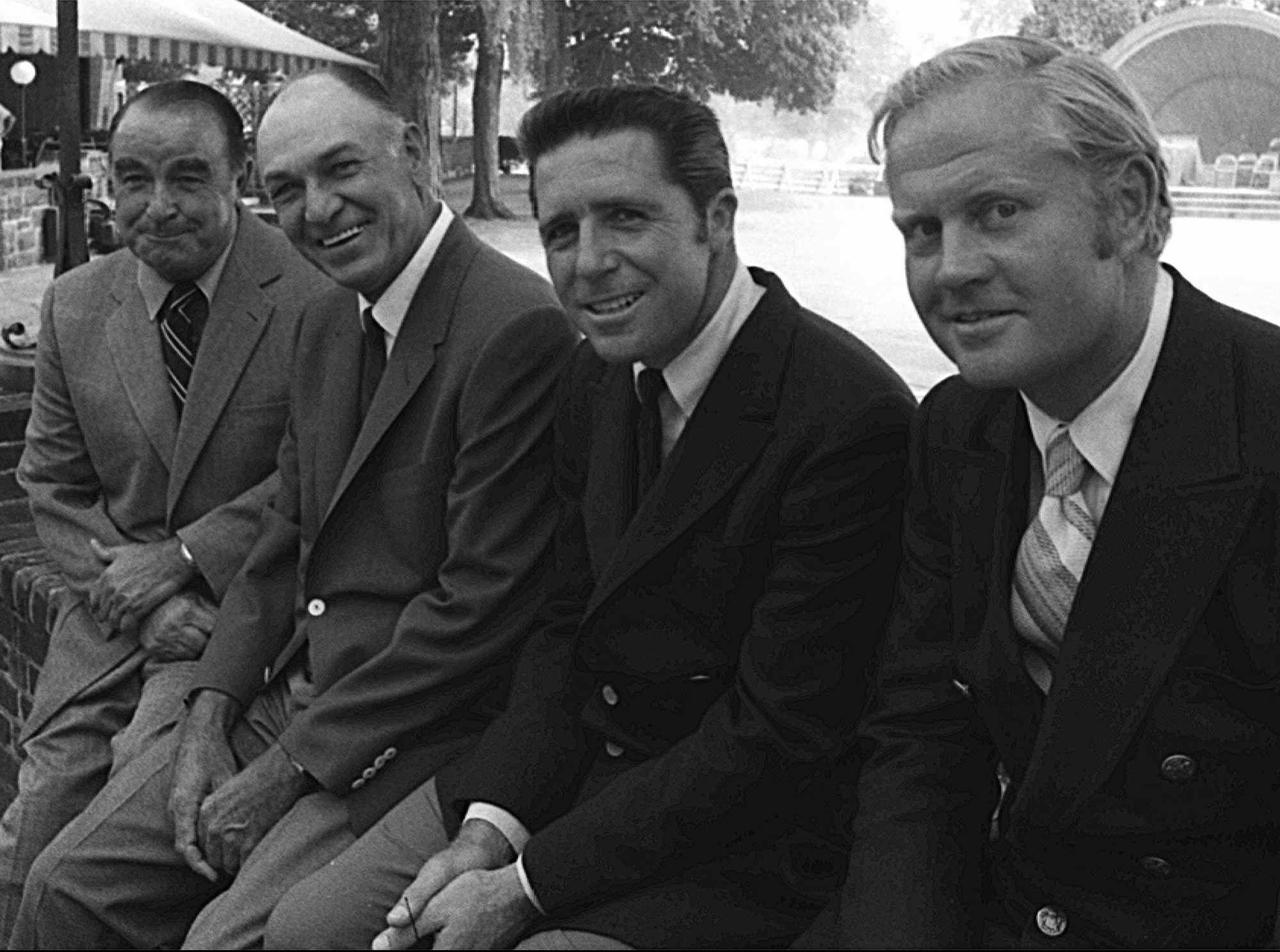 Golfer Ben Hogan, second from left, poses with three other Grand Slam winners at the Westchester Country Club in Harrison, N.Y., July 28, 1970. From left to right, are: Gene Sarazen, Hogan, Gary Player and Jack Nicklaus.