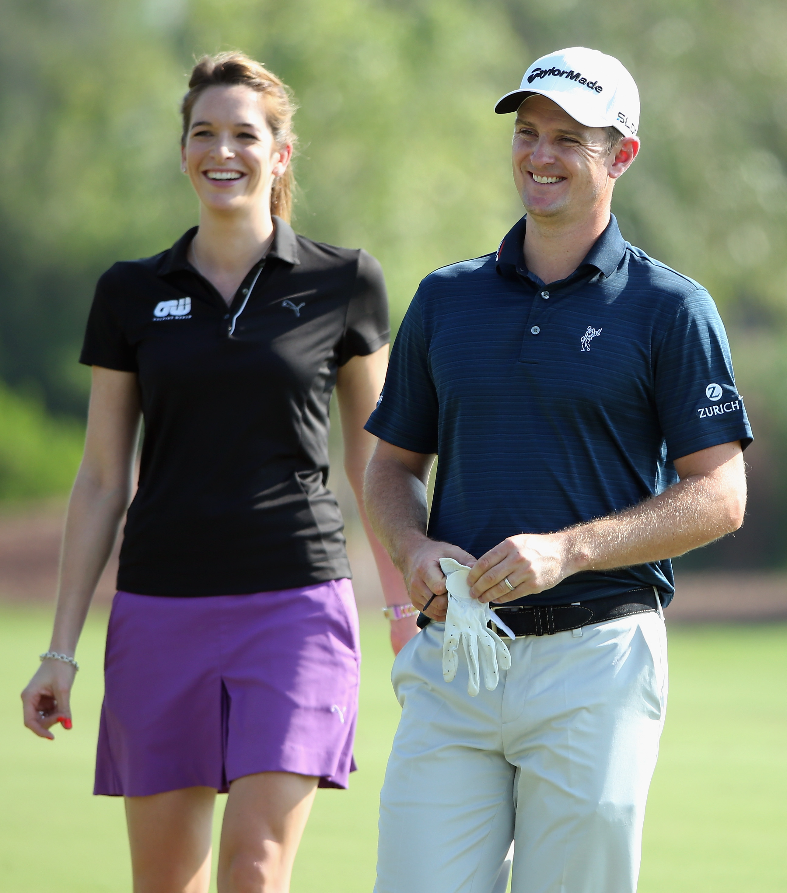 Cara Robinson chats with Justin Rose during the pro-am prior to the start of the 2013 DP World Tour Championship in Dubai.