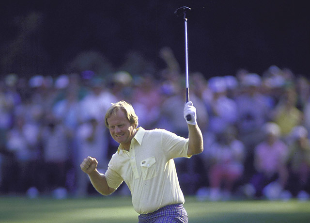 Jack Nicklaus with his MacGregor Response putter at the 1986 Masters.