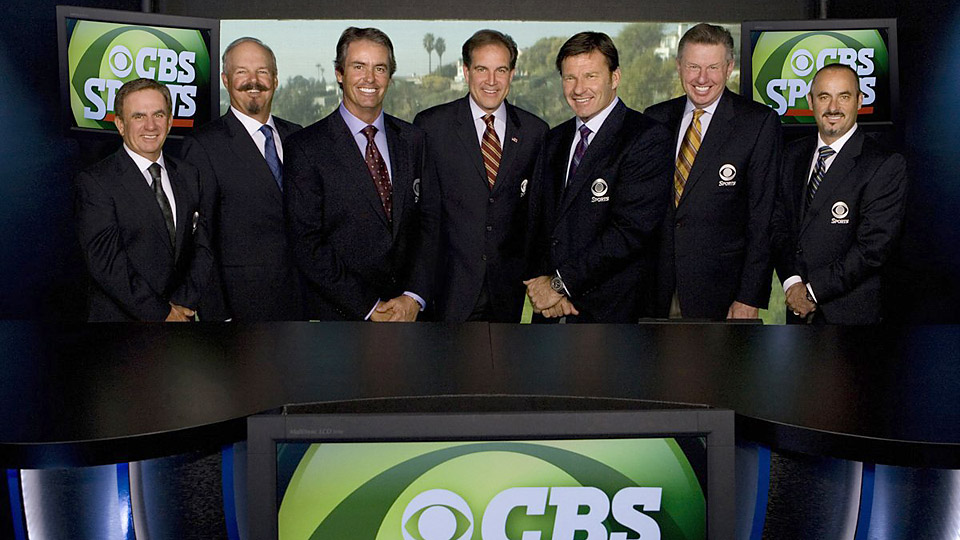 Peter Oosterhuis (second from right) with his fellow CBS Sports golf broadcasters.