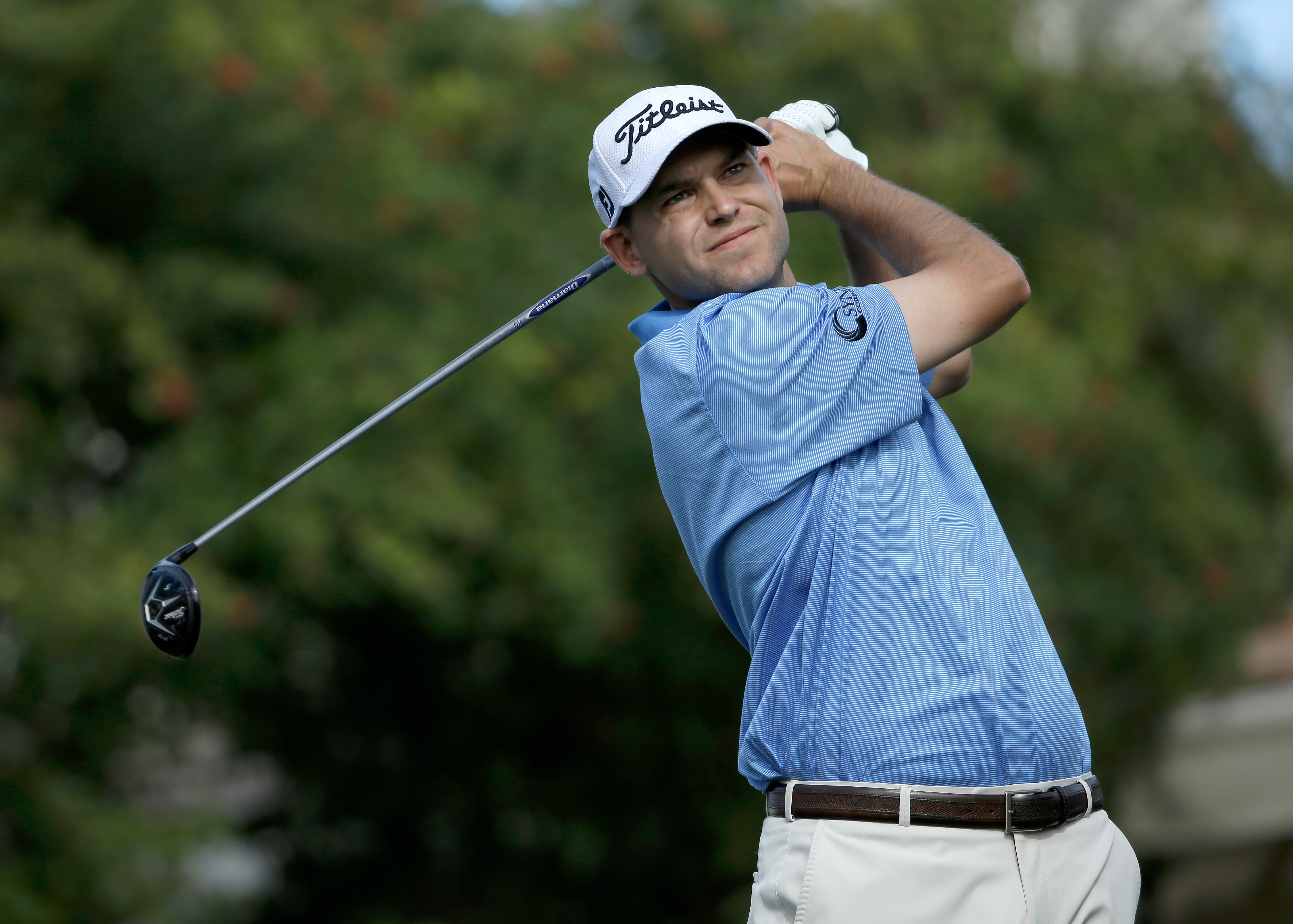 Bill Haas tees off on the eighth hole during the final round of the Humana Challenge.