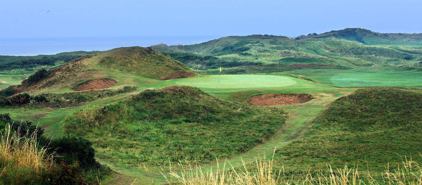 The par-3 eighth hole at Royal Troon, known as the the Postage Stamp.