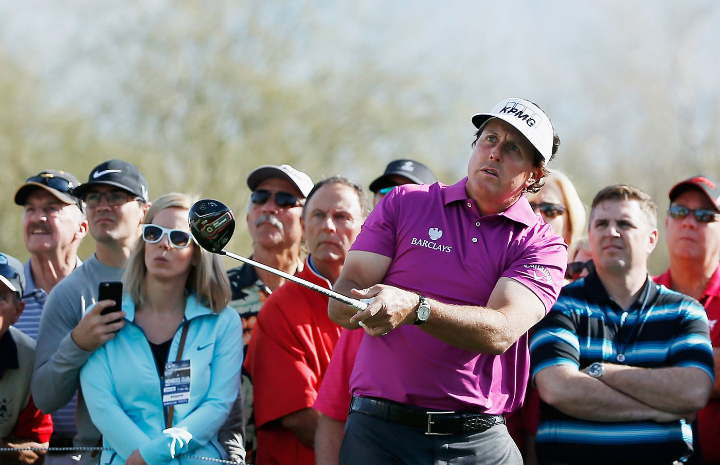 Phil Mickelson shot 76 to miss the cut at the Waste Management Phoenix Open.