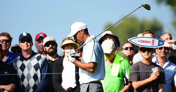 Tiger Woods withdrew while playing his 12th hole Thursday at Torrey Pines' North Course.