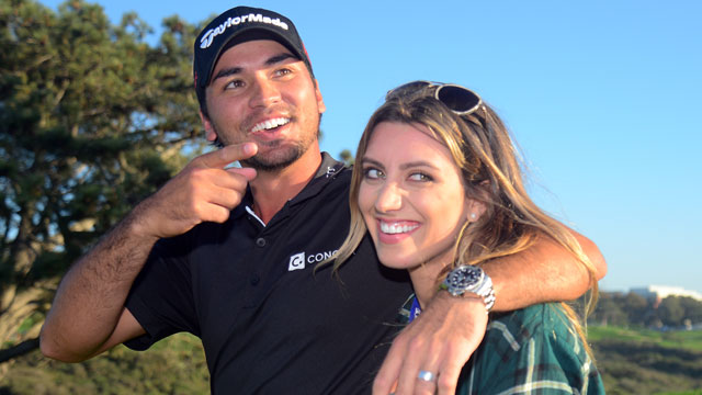 Jason and Ellie Day celebrates Jason's playoff victory at the 2015 Farmers Insurance Open at Torrey Pines.