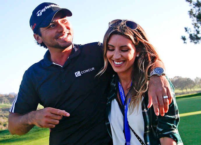 Jason and Ellie Day following Jason's playoff victory at the 2015 Farmers Insurance Open at Torrey Pines.
