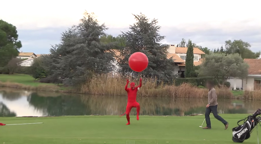 Remi Galliard steals a golfer's ball while dressed as Satan in his latest prank video.