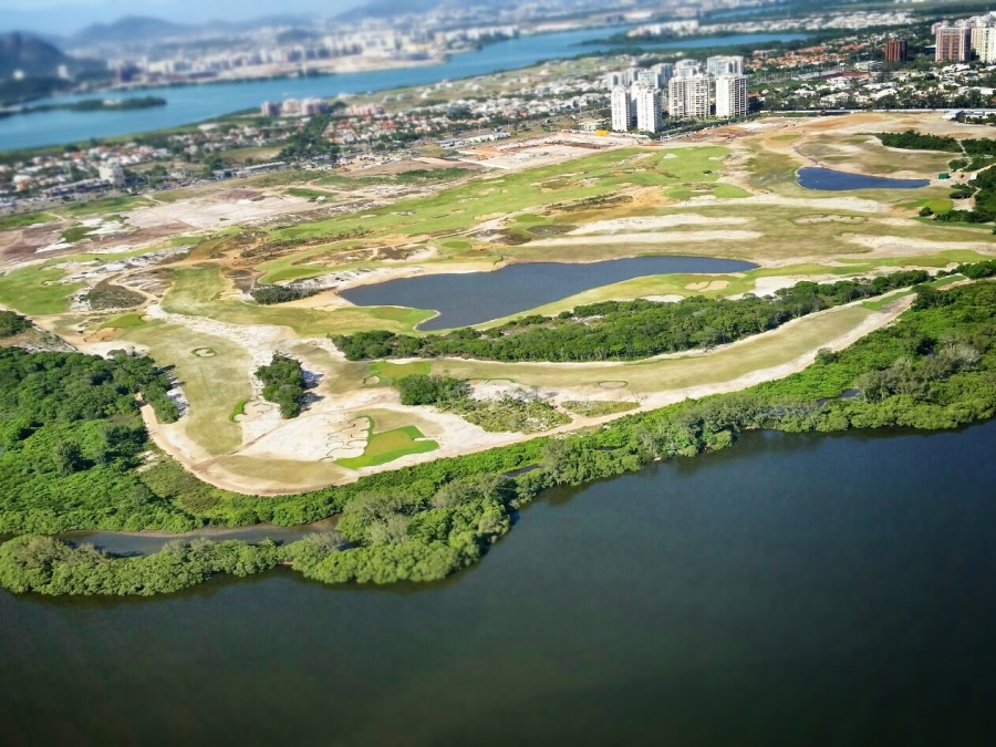 An aerial view of the Olympic golf course in the Barra da Tijuca suburb of Rio de Janeiro.