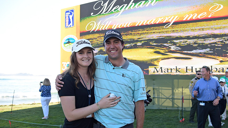 PGA Tour rookie Mark Hubbard and his new fiancee Meghan McCurley.