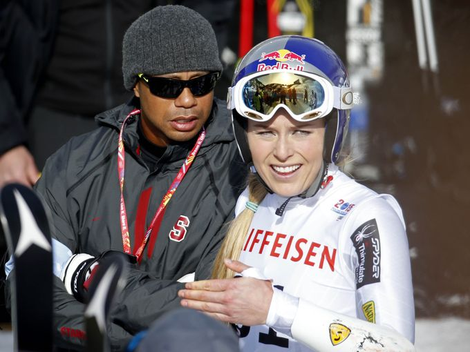 Tiger Woods and Lindsey Vonn after her first run in the women's slalom at the world championships Feb. 12 in Beaver Creek, Colo.