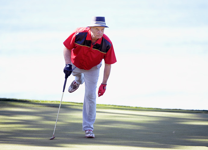 Actor Bill Murray watches a putt on the fifth green during the third round of the AT&T Pebble Beach National Pro-Am at the Pebble Beach Golf Links on February 14, 2015 in Pebble Beach, California.