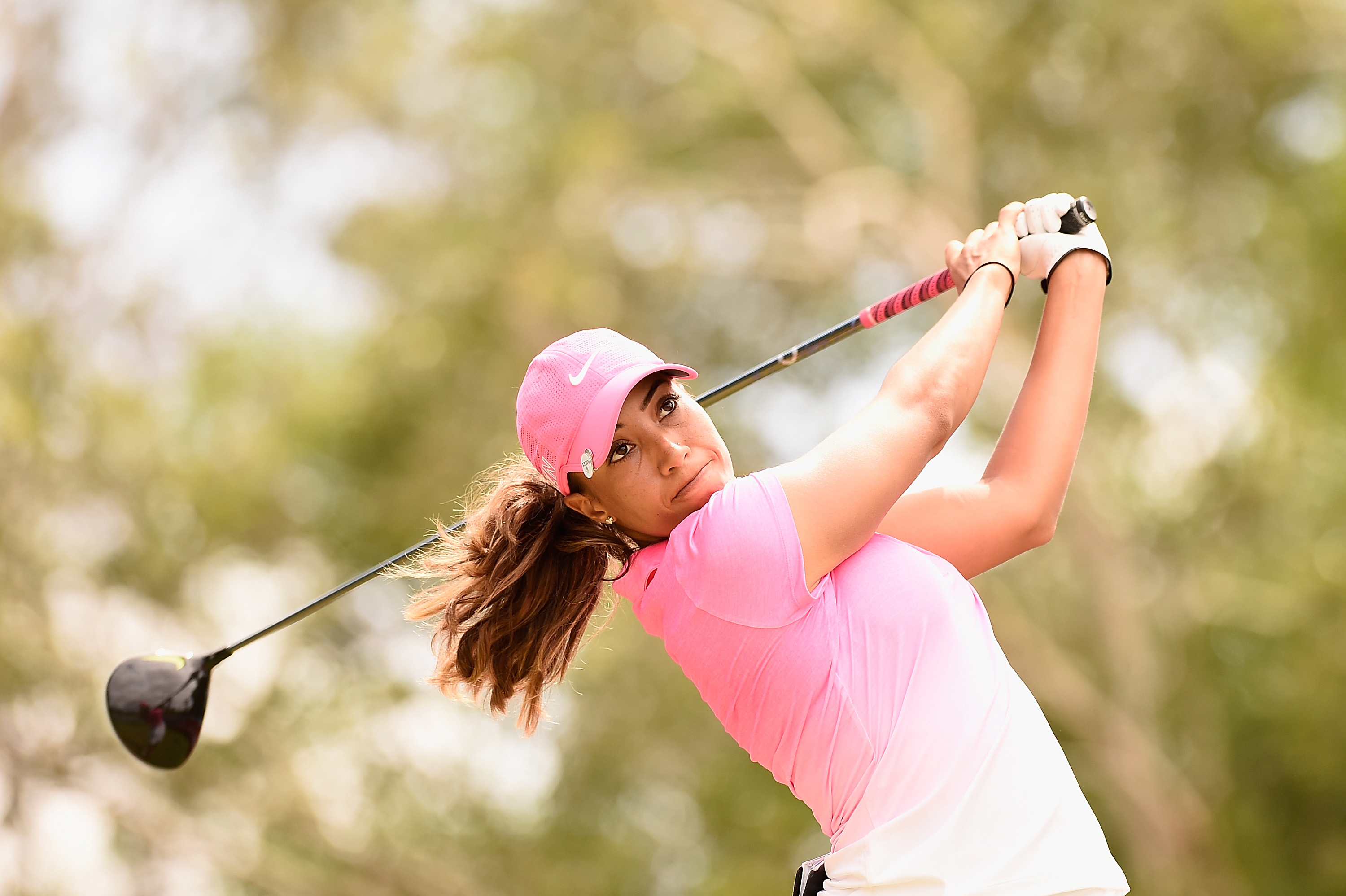 Cheyenne Woods hits her tee shot on the 10th hole in the third round of the 2015 Australian Ladies Masters on Feb. 14, 2015.
