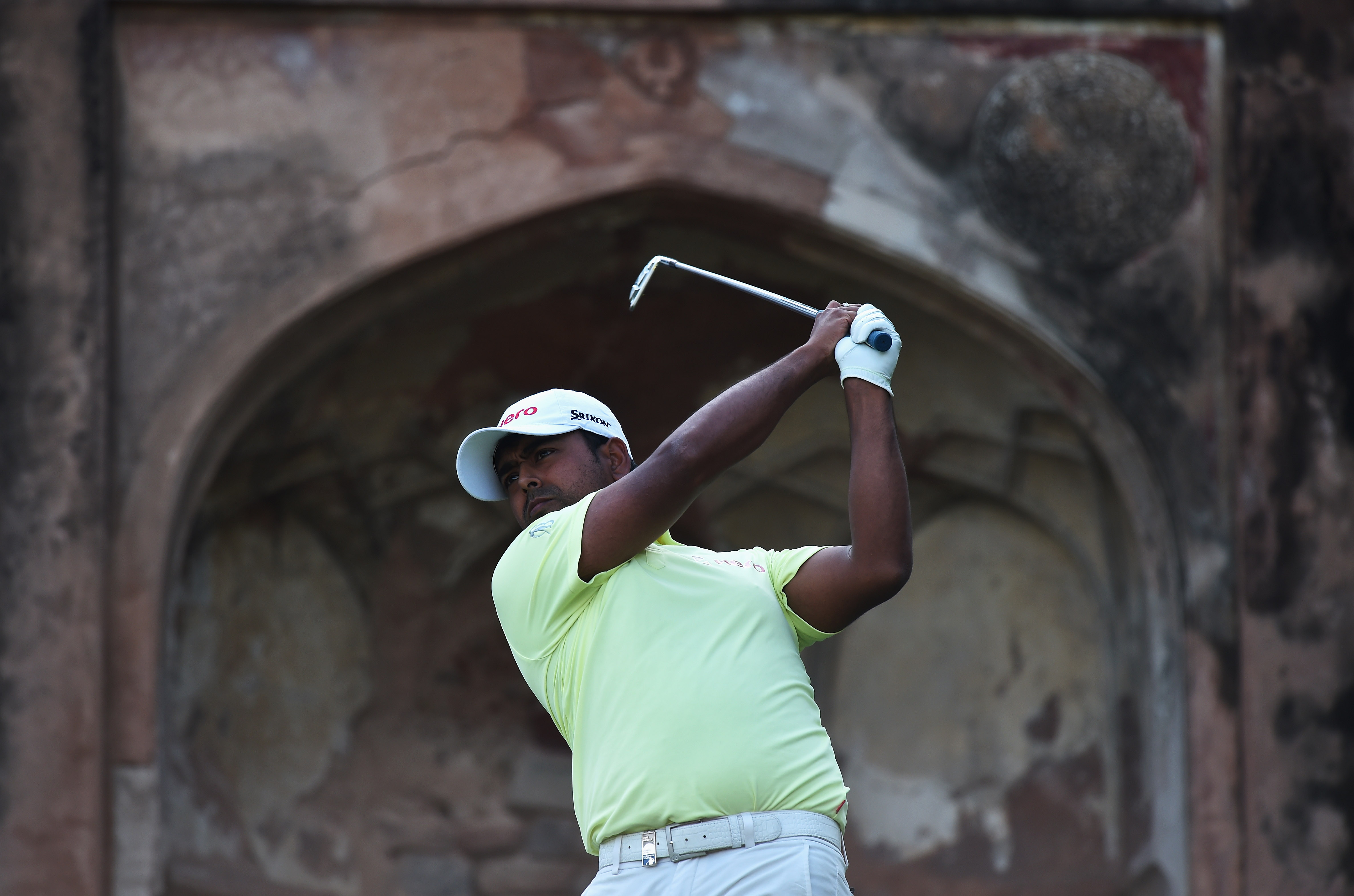Anirban Lahiri plays a shot during the final round of the Hero India Open Golf at Delhi Golf Club.