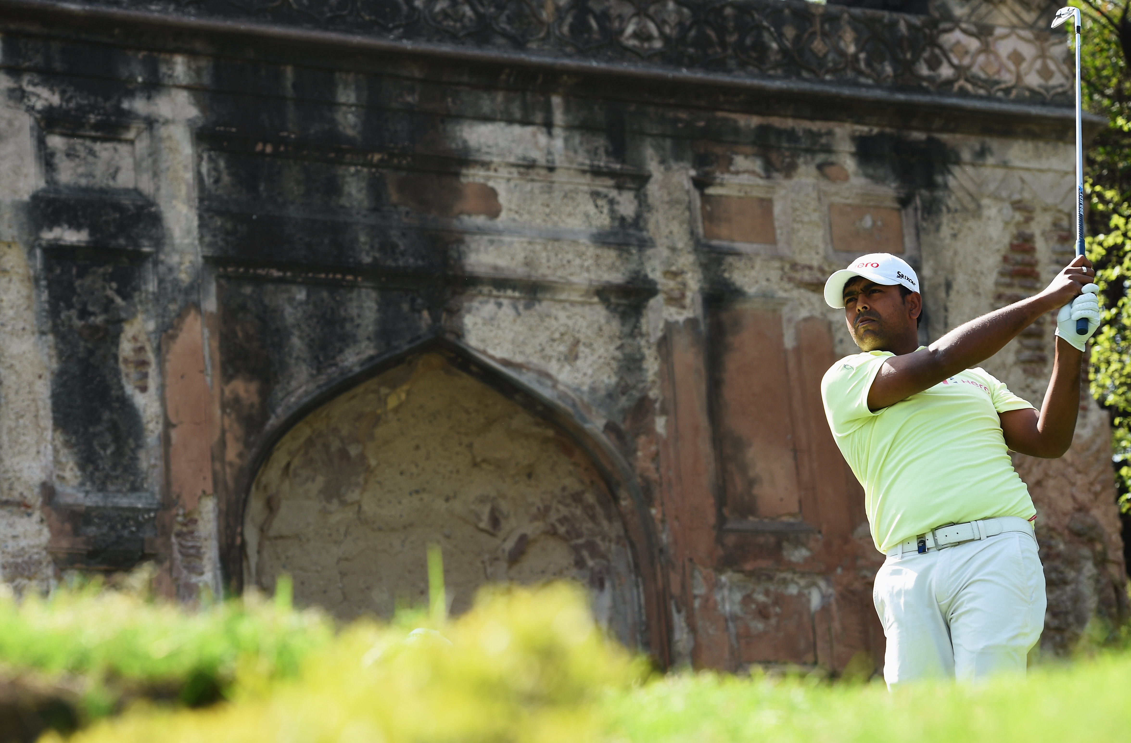 Anirban Lahiri of India plays a shot during the final round of the Hero Indian Open at Delhi Golf Club Sunday in New Delhi, India.