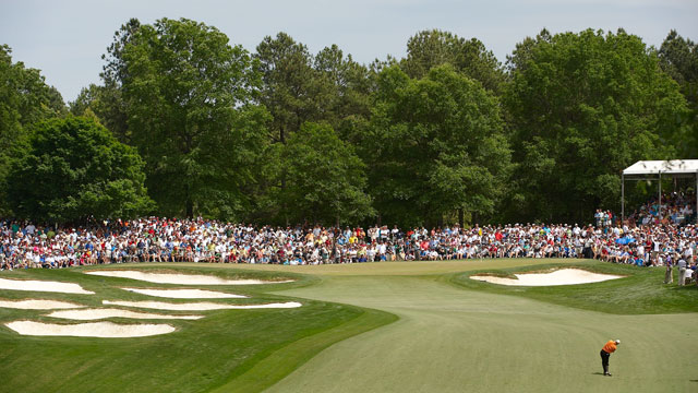 Scenic view of Jim Furyk in action, taking third shot on No 5 during Saturday play at Quail Hollow Club in the 2009 Wells Fargo Championship.