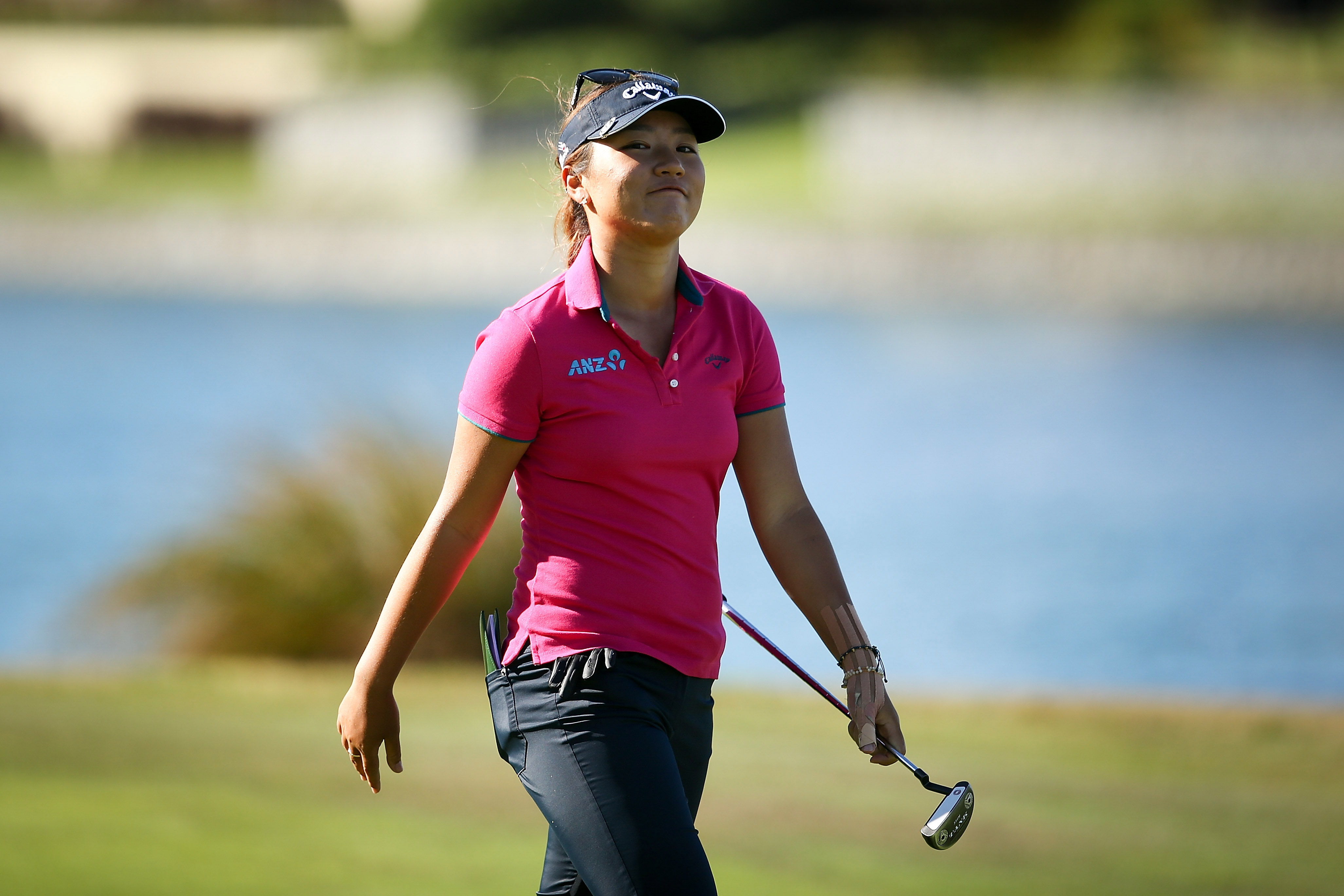 Lydia Ko smiles as she walks down the 18th fairway New Zealand Women's Open on Sunday in Christchurch, New Zealand.