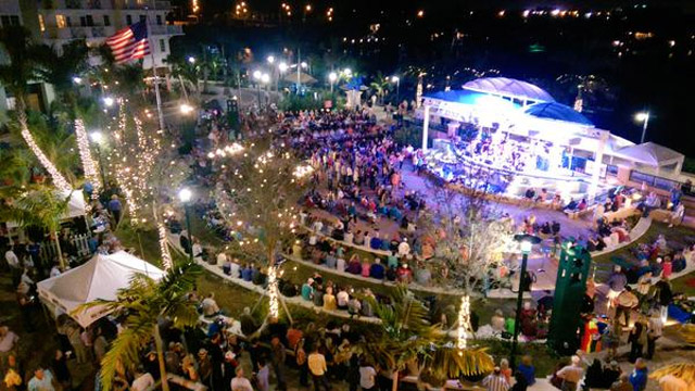 A view of the outdoor amphitheatre at Harbourside Place in Jupiter, Fla.