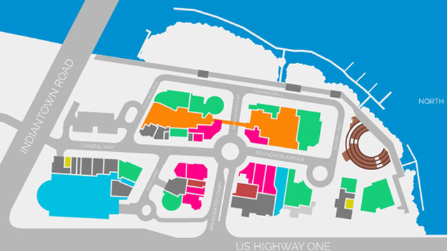 The layout of Harbourside Place in Jupiter, Fla.