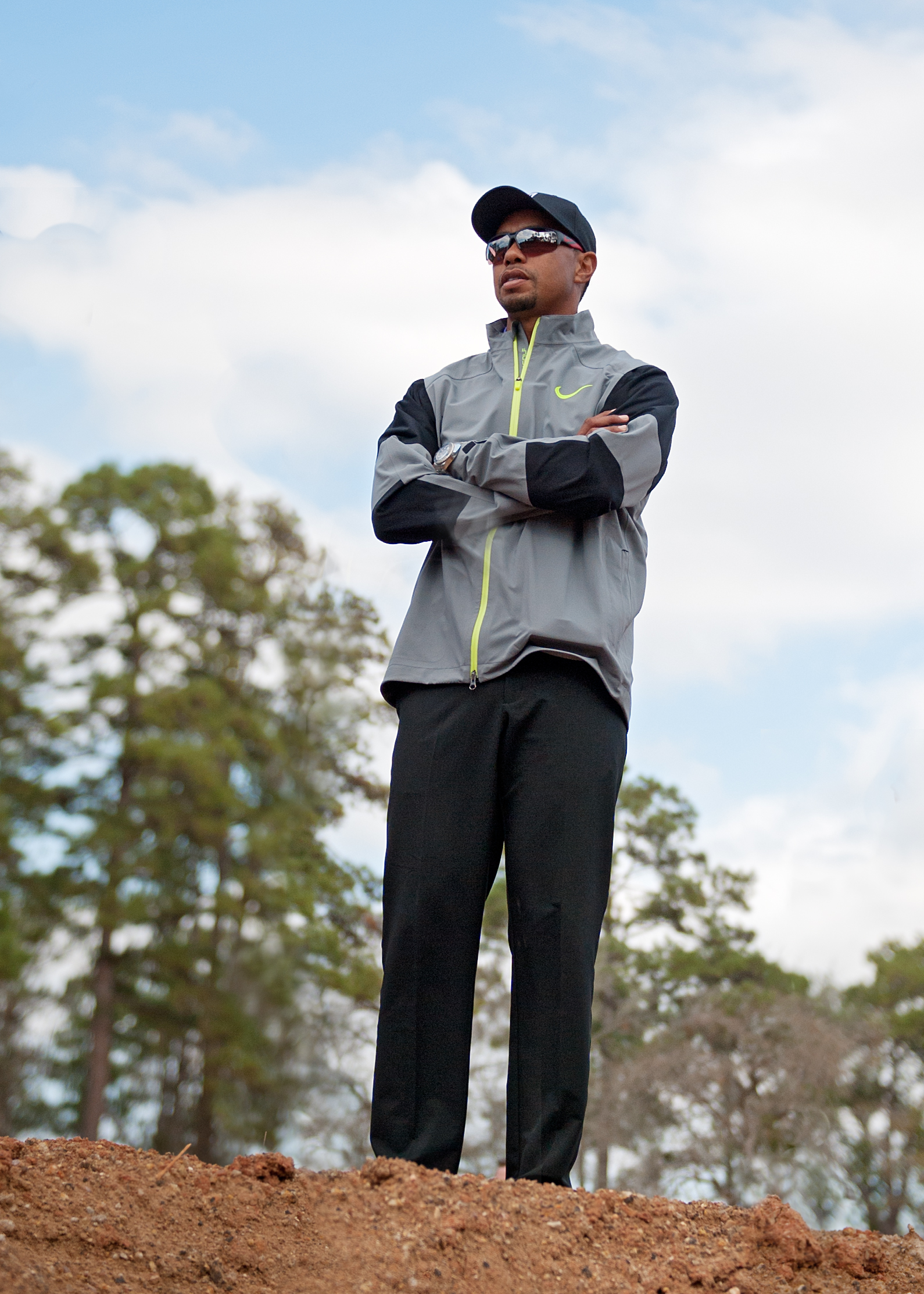 Tiger Woods surveys the construction of Bluejack National, his first U.S. course design.