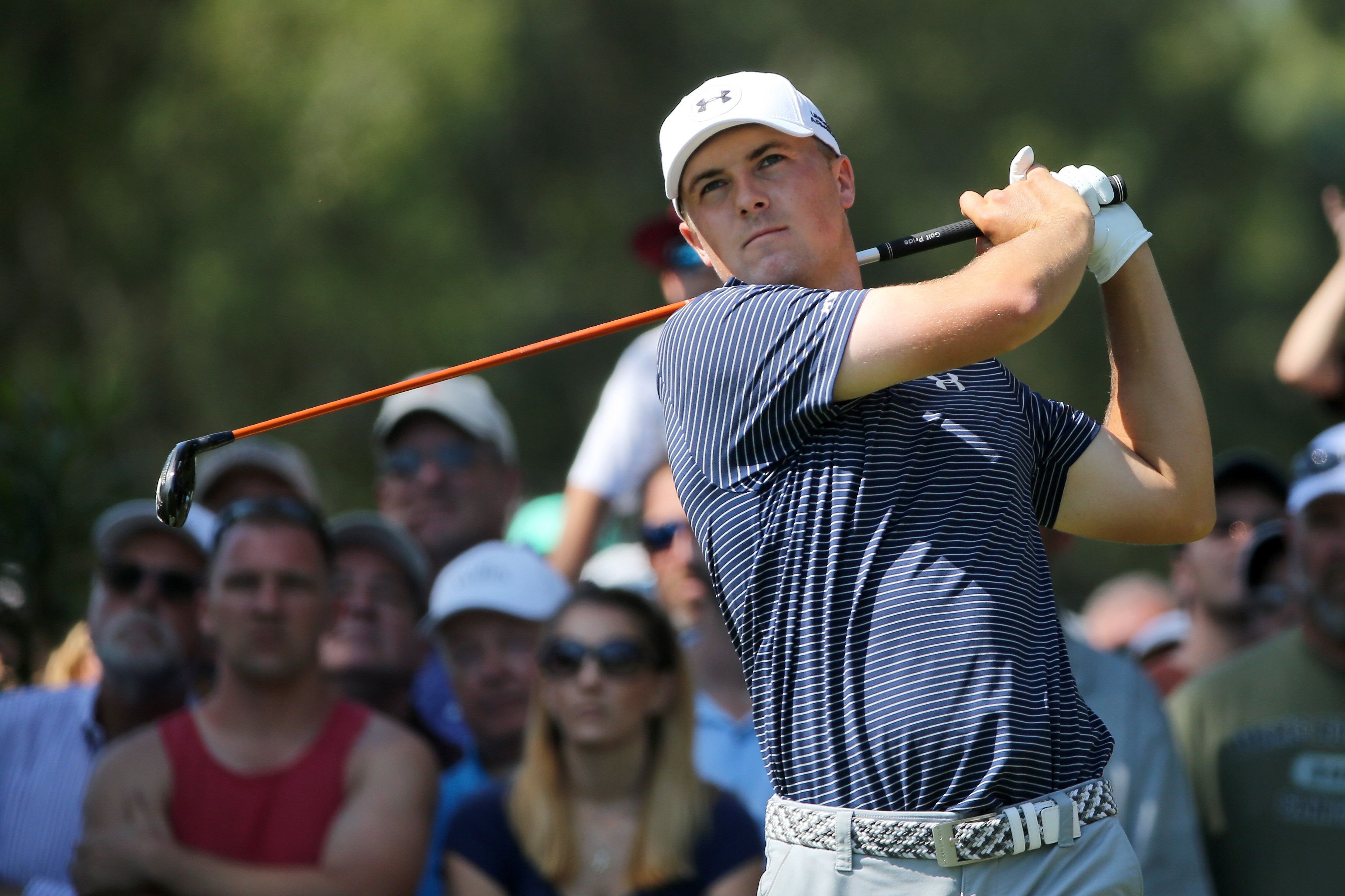 Jordan Spieth watches a tee shot during the final round of the Valspar Championship at Innisbrook Resort Copperhead Course Sunday in Palm Harbor, Florida. Spieth won on the third playoff hole.