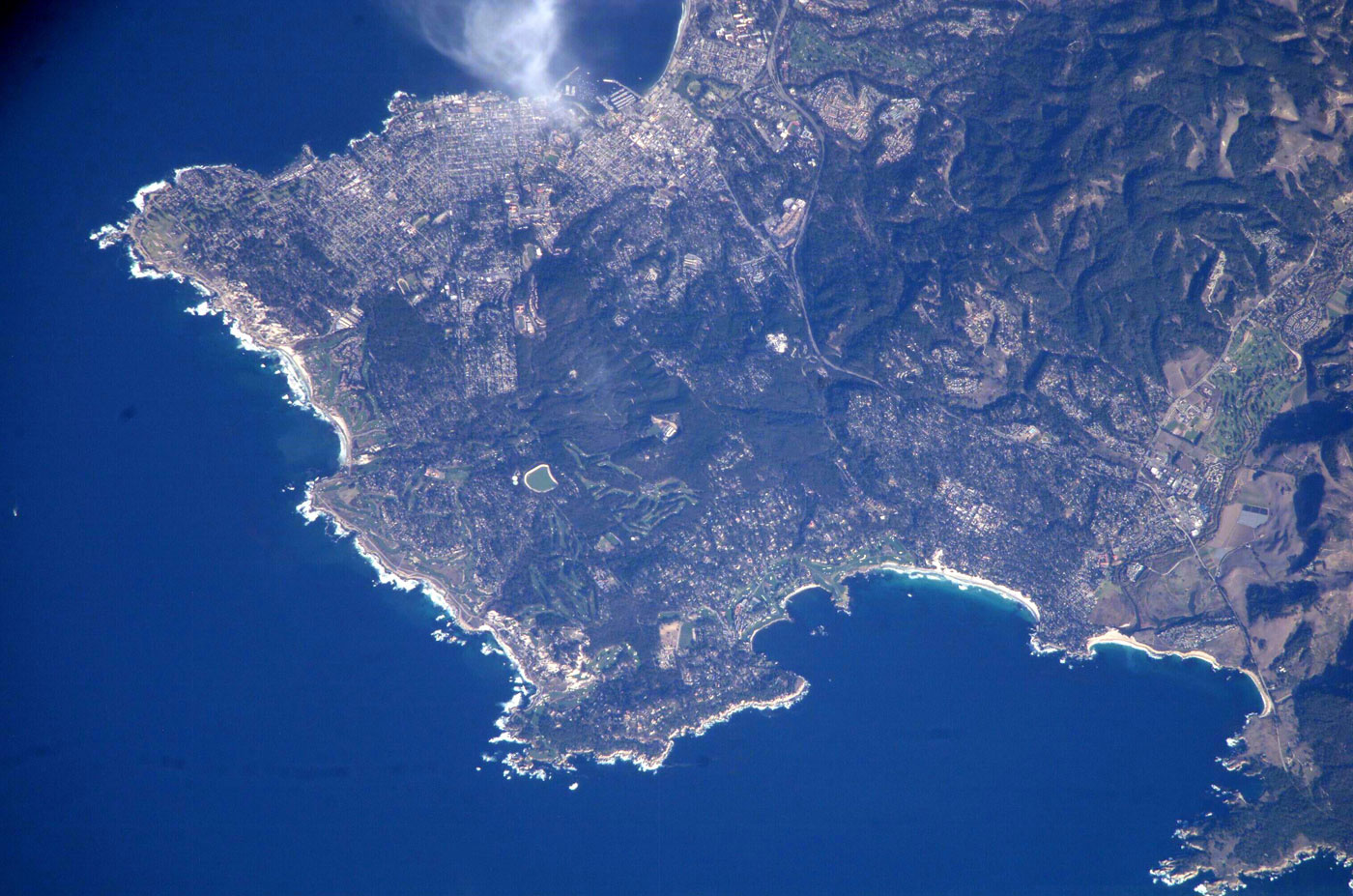 The Monterey Peninsula, as seen from the International Space Station.