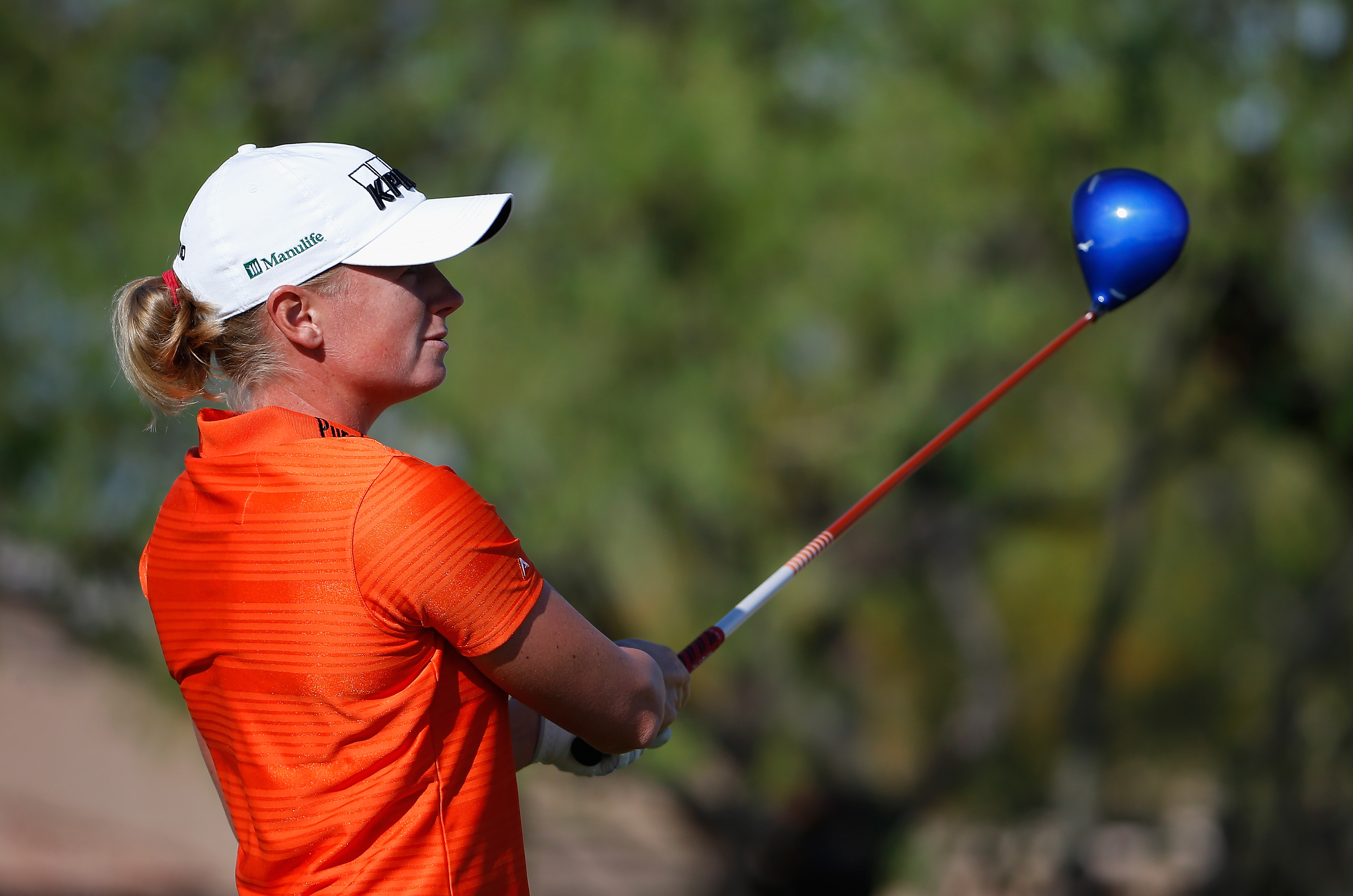 Stacy Lewis tees off on the 12th hole during the continuation of the first round of the LPGA Founders Cup.