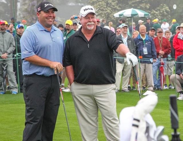 Together at last: The Walrus and the Smallrus strike a pose at Augusta National last year.