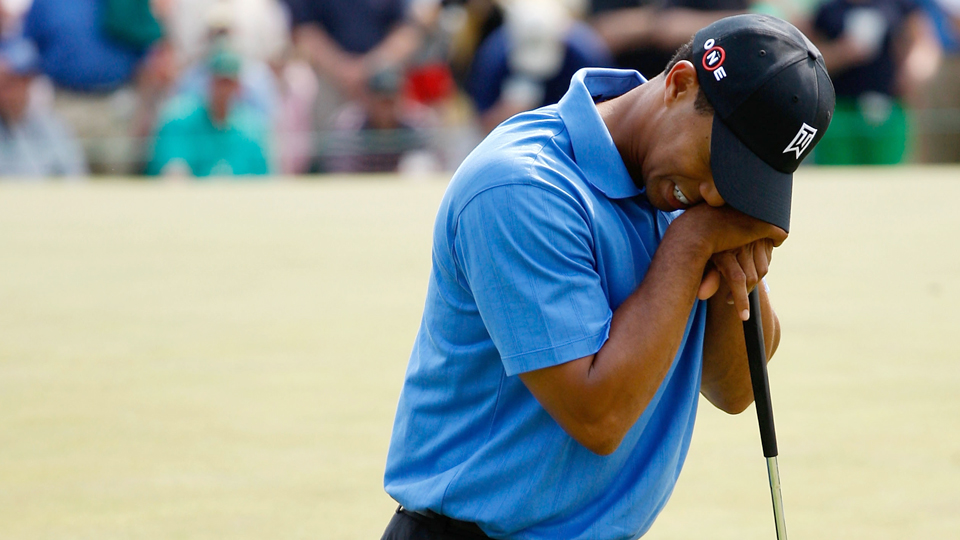 Tiger Woods reacts to a missed putt on the 17th green during the second round of the 2009 Masters.