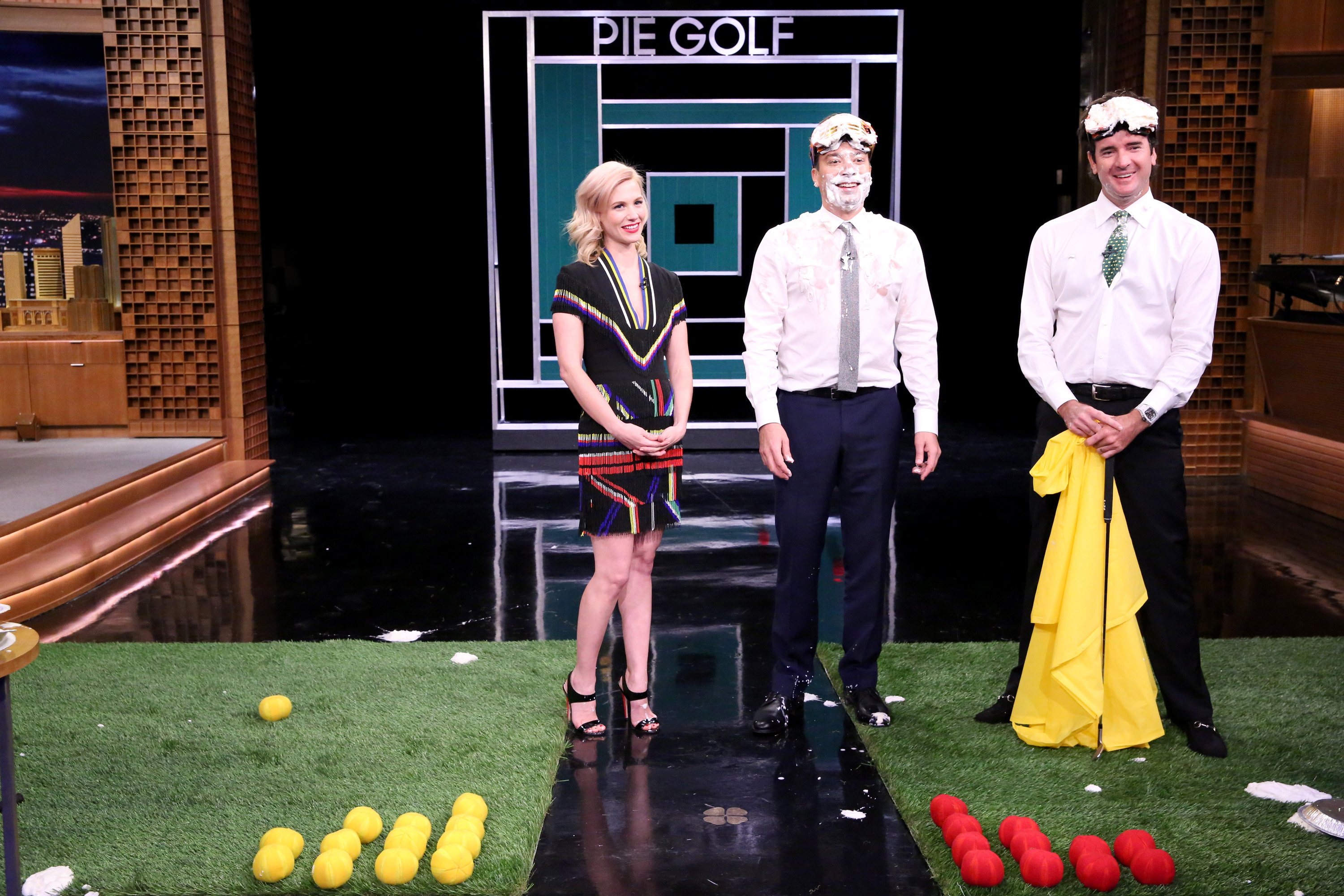 Bubba Watson received the Pie Golf Poncho for beating Jimmy Fallon at the messy sport.
